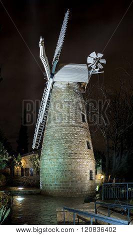 Montefiore Windmill At Night, Jerusalem