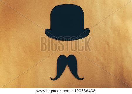 Photo booth props bowler, mustache on beige background