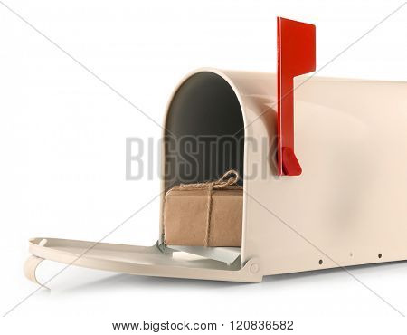 Mailbox with gift box isolated on white