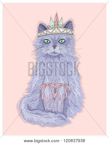 Cute purple cat princess with crown and ribbons. Fairytale vector illustration for kids or children.