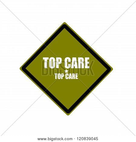 Top Care White Stamp Text On Green Background