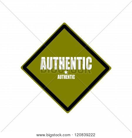 Authentic White Stamp Text On Green Background