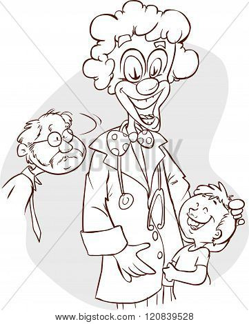 Doctor with clown face holding a child isolated in white