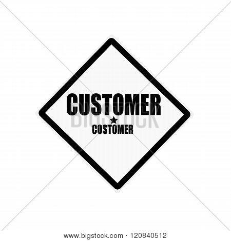 Customer Black Stamp Text On White Background