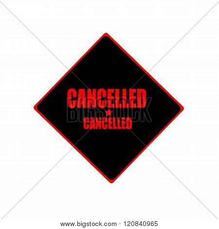 Cancelled Red Stamp Text On Black Background
