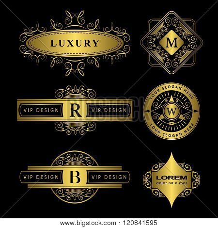 Monogram Design Elements Graceful Template. Calligraphic Elegant Line Art Logo Design. Gold Letter E