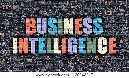 Business Intelligence Concept with Doodle Design Icons.