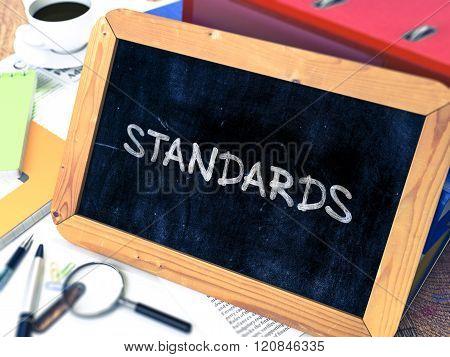 Standards Handwritten on Chalkboard.