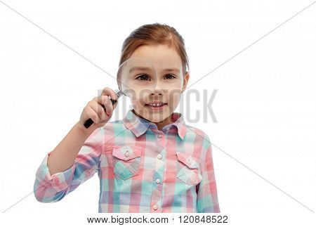 childhood, investigation, discovery, vision and people concept - happy little girl looking through magnifying glass
