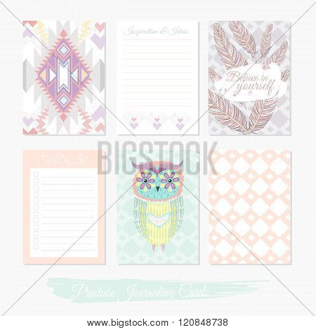 Printable cute set of filler cards with aztec pattern owl and feathers. Vector templates for posters flyers banner designs journal cards scrapbook planner diary journaling.