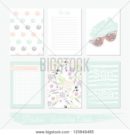 Printable cute set of filler cards with flowers sunglasses and summer elements. Vector templates for posters flyers banner designs journal cards scrapbook planner diary journaling.