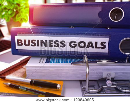 Blue Office Folder with Inscription Business Goals.