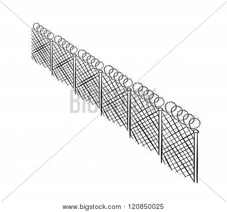 Sketch Of The Barbed Fence