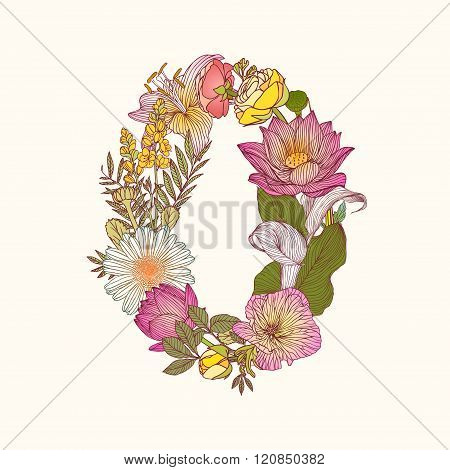 Floral Numeral Figure 0