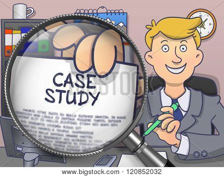 Case Study through Magnifier. Doodle Design.