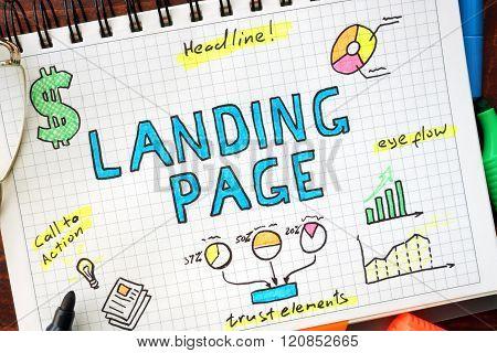 Landing page written in a notebook.