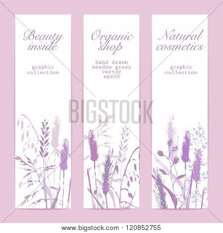 Meadow Grass Silhouettes Illustration Banner Set