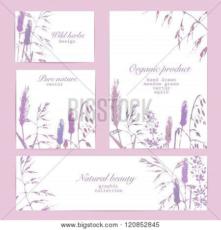 Vector Design Template Set With Meadow Grass In Purple And Lilac