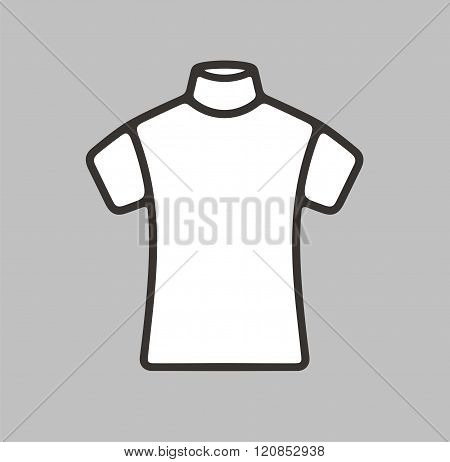 Vector illustration. Icon of a women's short sleeve turtleneck