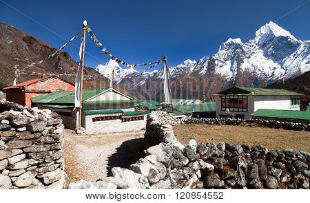 Mount Ama Dablam And Khumjung Village Near Namche Bazar