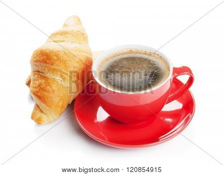 Fresh croissants and coffee cup. Isolated on white background