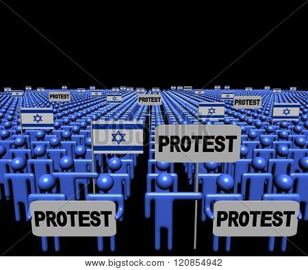 Crowd of people with protest signs and Israeli flags illustration