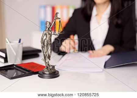 Statuette Of Themis - The Goddess Of Justice On Lawyer's Desk
