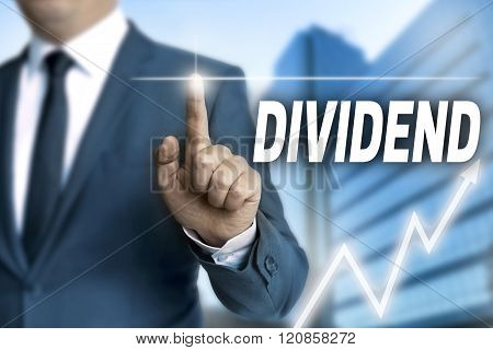 Dividend Touchscreen Is Operated By Businessman