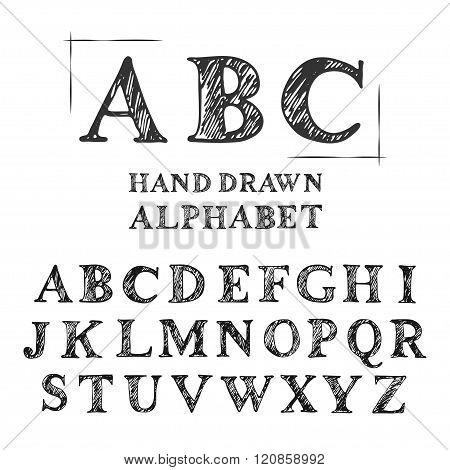 English Uppercase Scribbled Serif Font.