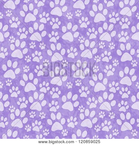 Purple Doggy Paw Print Tile Pattern Repeat Background