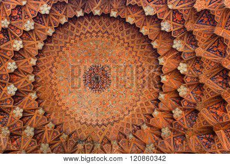 Isfahan, Iran - December 13, 2015: Beautiful ceiling of the Qeysarieh Portal, main entrance to market (Bazaar) in Isfahan, Iran.