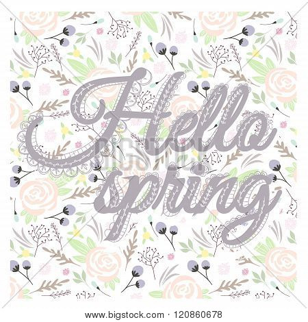 Printable spring wall art with floral pattern and typography. Vector templates for posters flyers journal cards scrapbook.