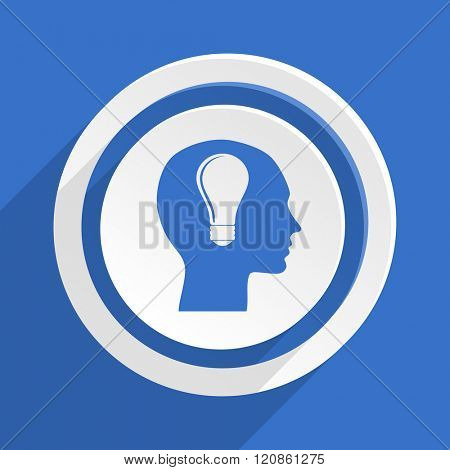 head blue flat design modern icon