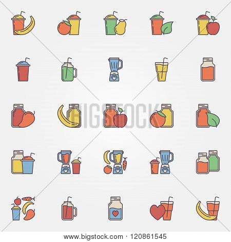 Flat smoothie icons set