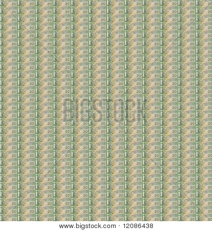 Layer of Canadian banknotes with white background