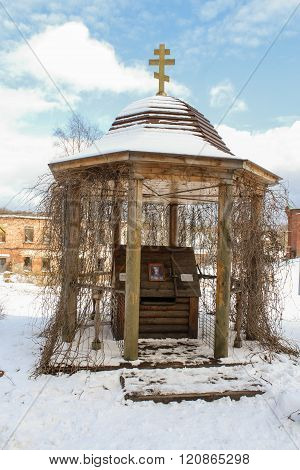 Staraya Ladoga, Russia - 23 February, The canopy over the well of the convent, 23 February 2016.Tourist places in the great ancient route from the Vikings to the Greeks. Staroladozhsky Holy Assumption nunnery. Gold ring of Russia.