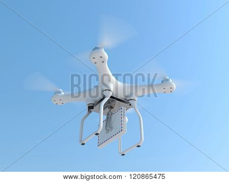 Drone Quadcopter Carrying Mail Envelopes