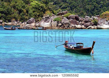 Traditional Thai Longtail Boats At Koh Lipe, Andaman Sea, Thailand