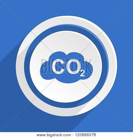 carbon dioxide blue flat design modern icon