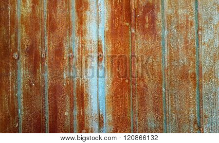 Rusted Blue Galvanized Iron Plate