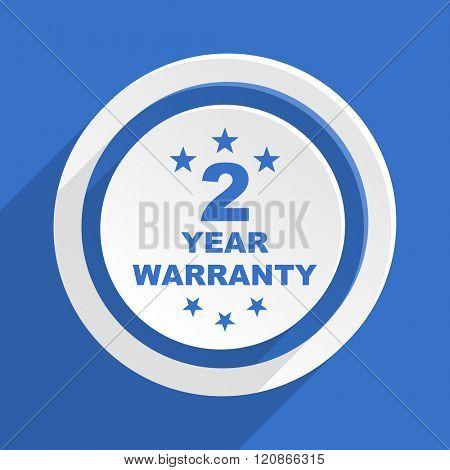 warranty guarantee 2 year blue flat design modern icon