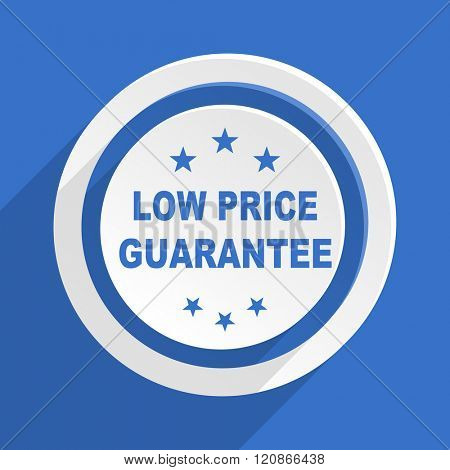 low price guarantee blue flat design modern icon