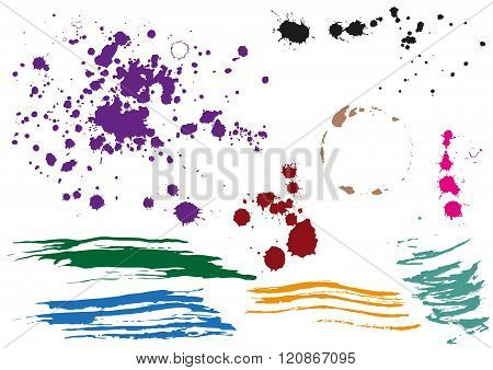 Coffee stain. Colored blobs. Multi colored blots