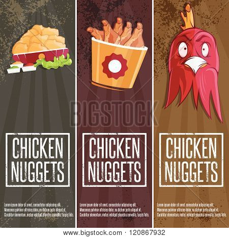Chicken Time Fast Food Vector Banners . Concept Of Graphic Clipart Work
