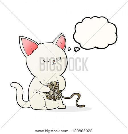cartoon cat playing with ball of yarn with thought bubble