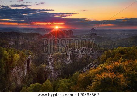 sunset view on Schrammsteine from Carolafelsen, Saxon Switzerland
