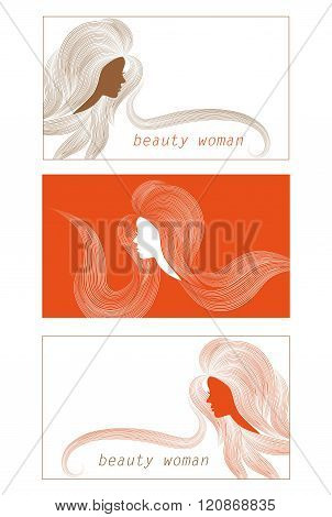 business cards with images of beautiful women with long hair