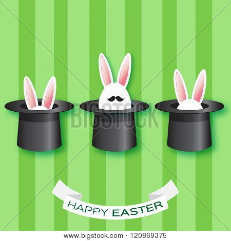 Origami Green Greeting card with Happy Easter - with white Easter rabbit with black mustache.
