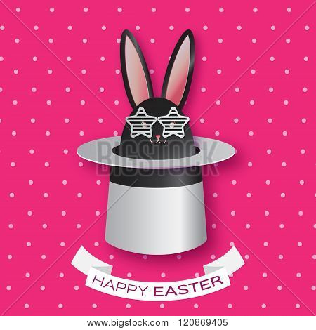 Origami Pink Greeting card with Happy Easter - with Black Easter rabbit with white sunglasses.