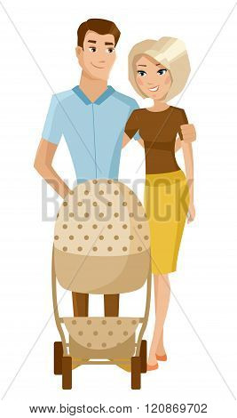 Young parents with baby stoller. Vector